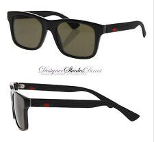 314dc4ab6f Gucci Sunglasses GG0008 001 Black Rectangle Frame Wayfare Grey Lens Red  Green