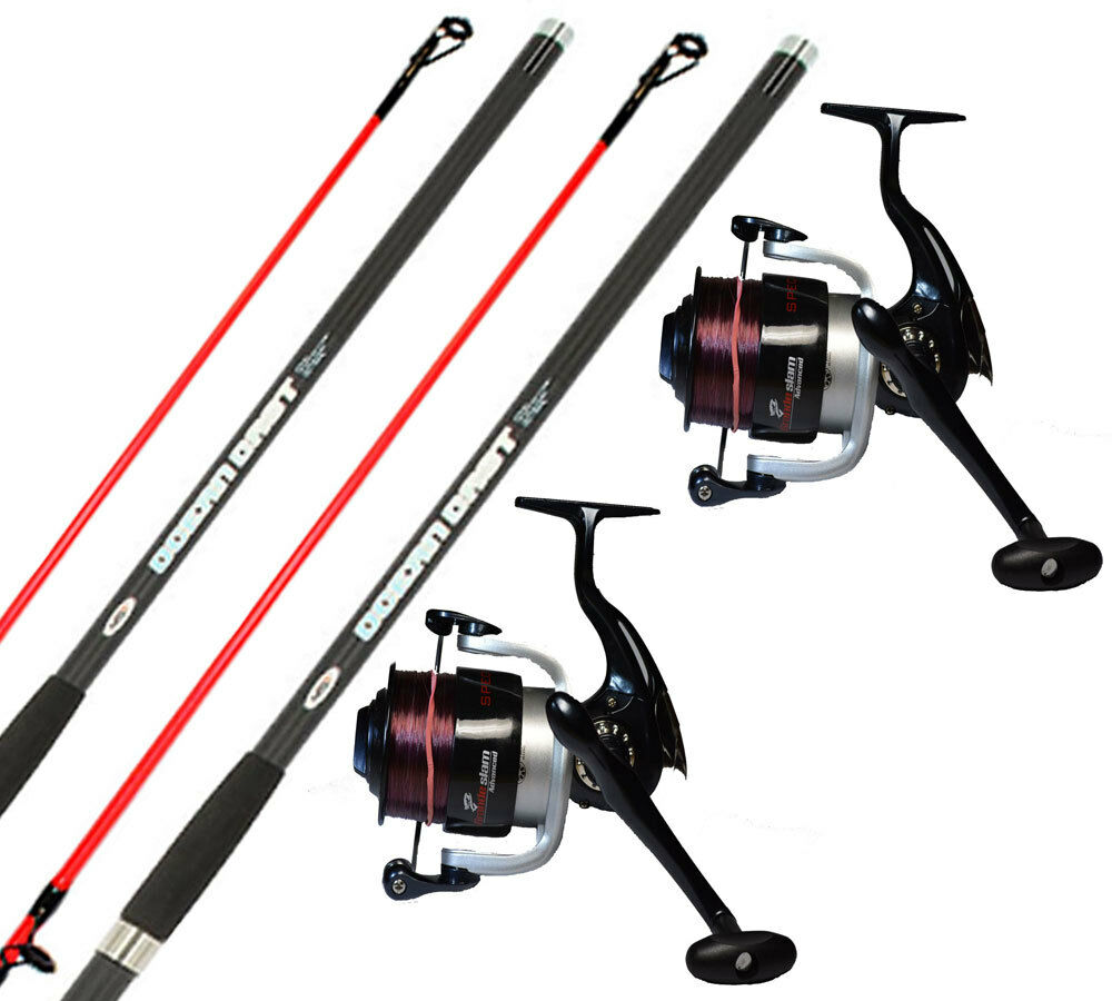 2x 14ft Oceancast Beach caster Sea Fishing Rods & Reel Set SX70 Advanced Reels