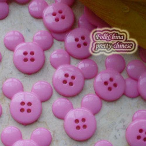 Pink  Mickey Shape 20mm Plastic Buttons Sewing Scrapbooking Collectable Craft
