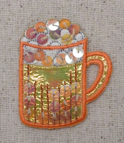 Sequin Orange Beer Mug Drink Iron On Embroidered Applique Patch Root Beer