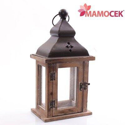 Puntuale Lanterna Portacandela Marrone 17x12 H33 Legno Metallo Arredo Decorazione Shabby