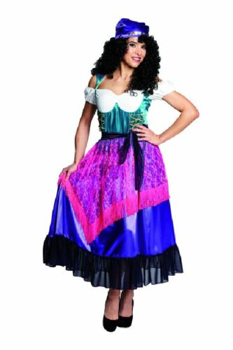 Rub Damen Kostüm Zigeunerin Kleid mit Kopftuch Karneval Fasching