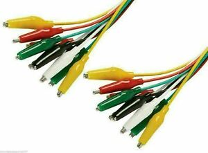 Crocodile Alligator Clips 500mm Test Leads Set of 10 Coloured Leads 25mm Clips