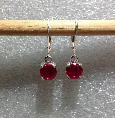 Sterling Silver Round Oval Cut Ruby Dangle Earrings 2.85TCW~ *Various Styles*