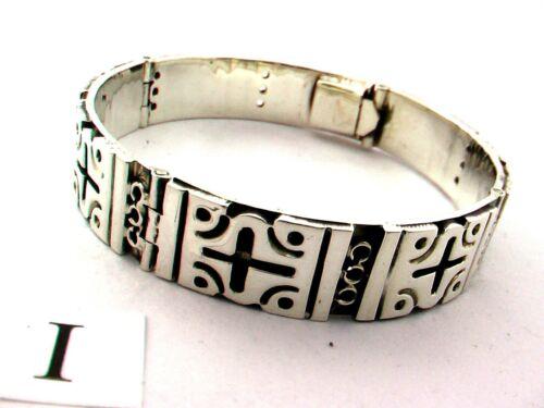 "Men//Women Taxco Mexican 925 Sterling Silver Bangle Bracelet 7/"" 59 grams 18 cm"