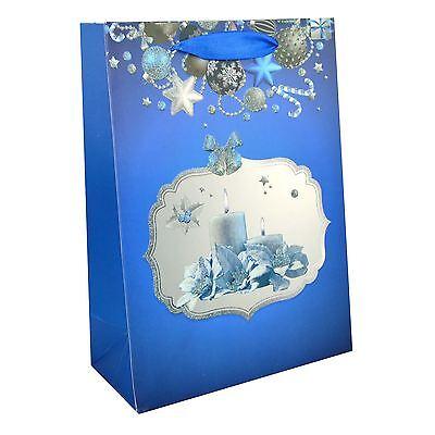1 X Piccolo Lussuosa Borsa Regalo Di Natale-blu-decorativo Con Sacchetto Di Carta Glitter- Durevole In Uso