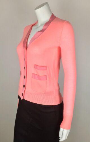 J Harlow Button Neon Cardigan Maglione Down Pink Nwt G8452 Merino Xxs crew Lana r5aBqprv