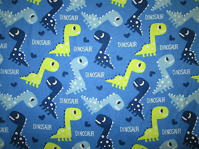 Blue Flannel Microbat with Dinosaurs