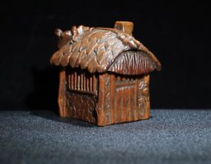 noble natural Boxwood carved china ancient straw house statue Incense burner box