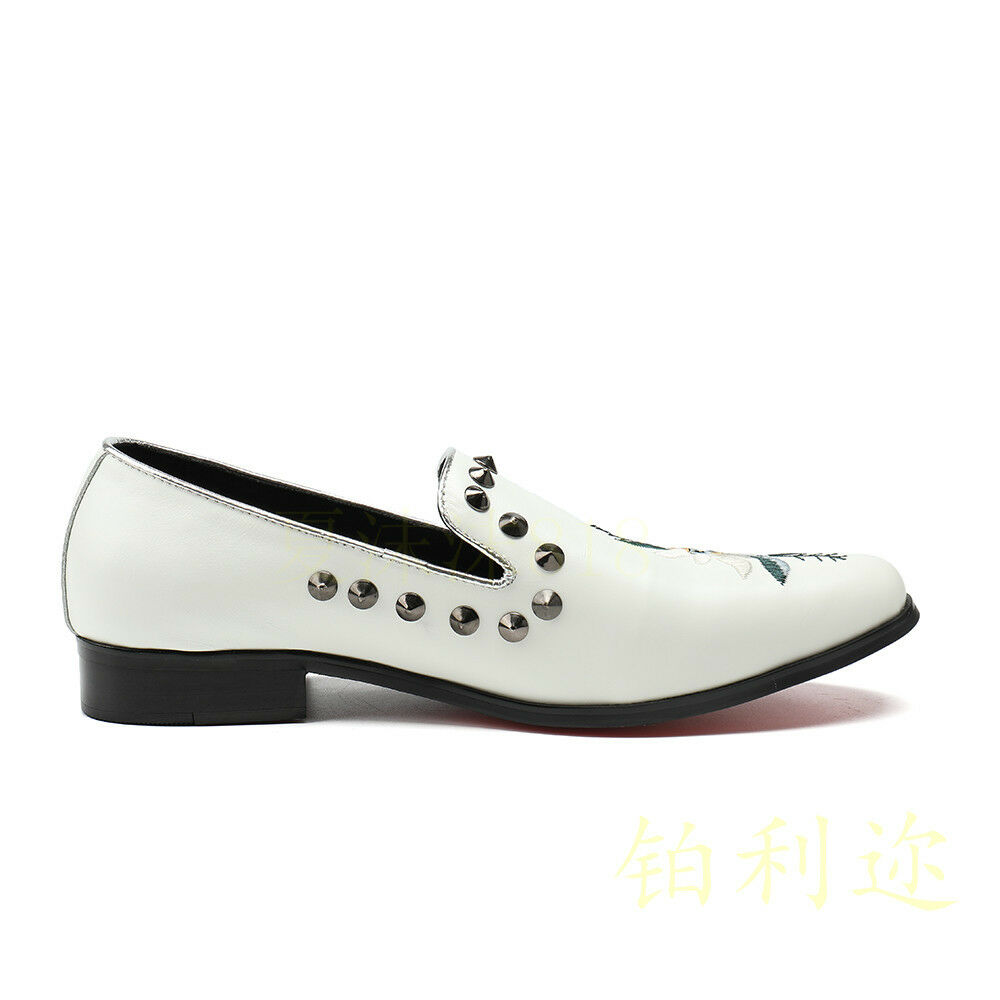 official photos 3e626 c8ad6 ... New New New Men s embroidery Floral Flat Slip On Shoes Rivet Loafers  Formal Shoes happy d30786 ...