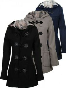 laeticia dreams damen kurzmantel jacke dufflecoat kapuze karomuster s m l xl ebay. Black Bedroom Furniture Sets. Home Design Ideas