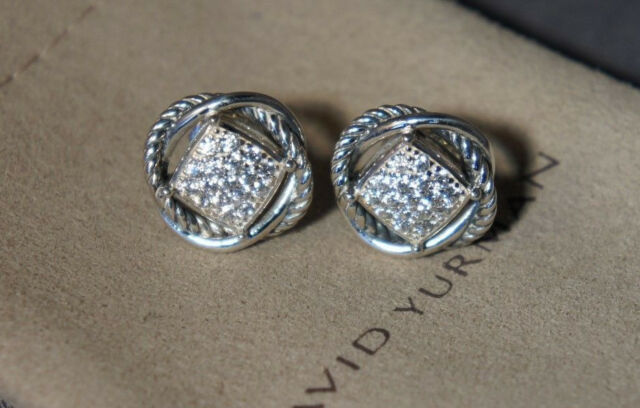 e70422d1e3612 David Yurman 925 Sterling Silver Topaz Pave  INFINITY Stud Earrings DY Pouch