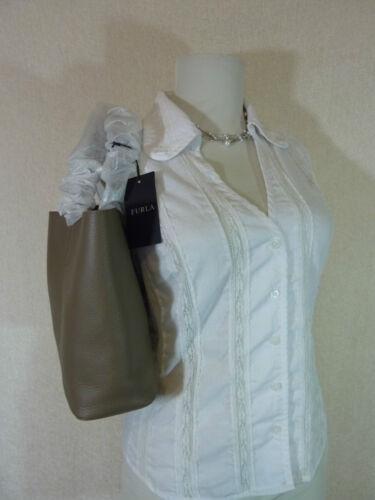 NWT Furla Daino Taupe Pebbled Leather Small Elle Tote Bag $248