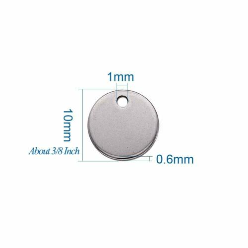 100pcs Flat Round 304 Stainless Steel Blank Stamping Tag Pendants Charms 8mm