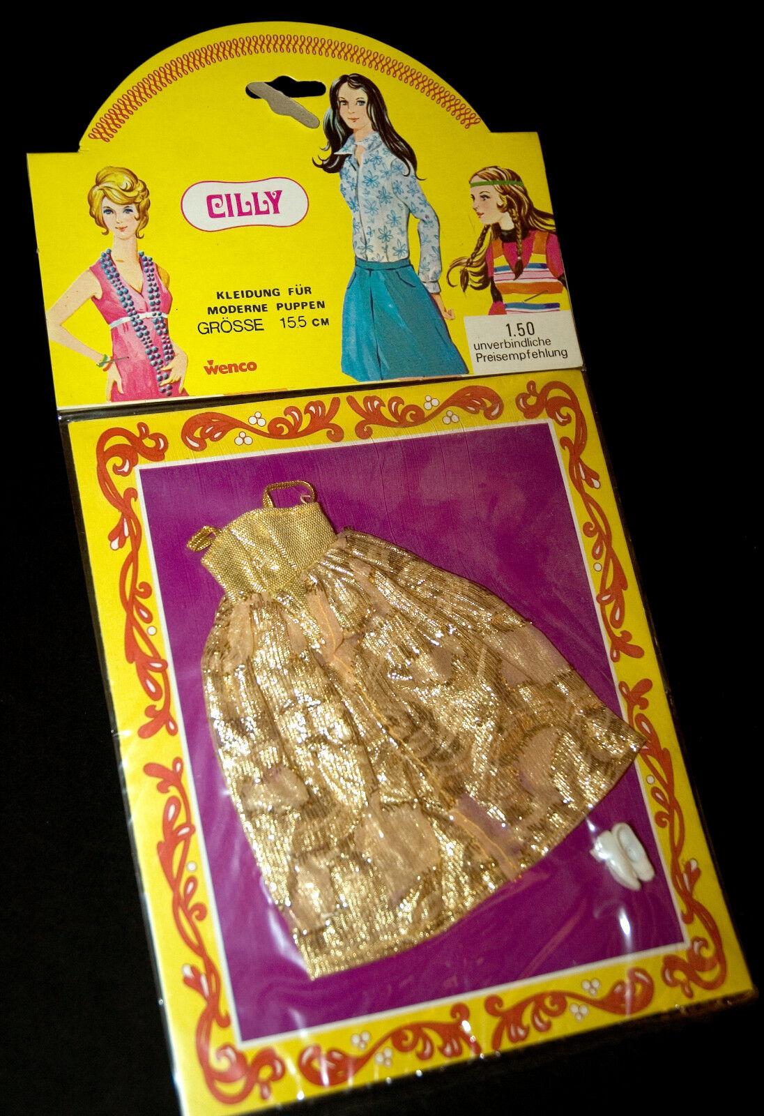 Cilly vintage 70s Topper Dollhouse Doll rare oro atuendo 15cm vestidos de muñecas