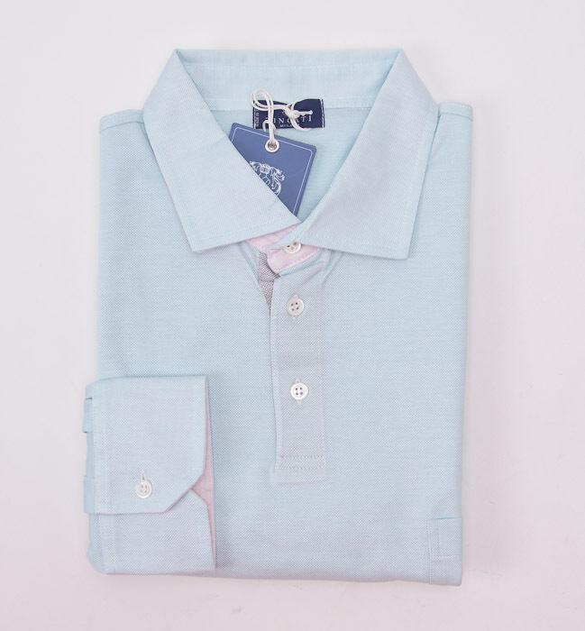 NWT  TINCATI MILANO Aqua Green-Pink Longsleeve Pique Cotton Polo Shirt 48 M
