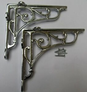 "5/"" PAIR OF ANTIQUE IRON cast Victorian scroll ornate shelf support wall brackets"