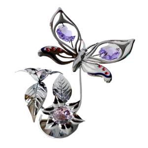 Crystocraft-Butterfly-amp-Flower-Crystal-Ornament-With-Swarovski-Elements-Gift-Box