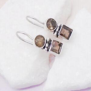 Rauchquarz-braun-rund-eckig-Design-Ohrringe-Ohrhaenger-925-Sterling-Silber-neu