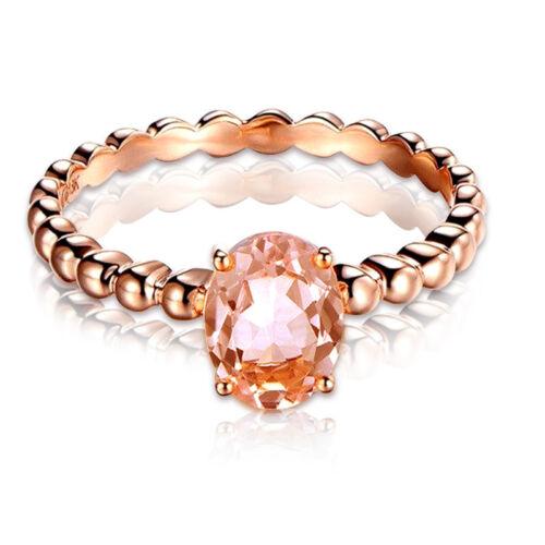 Magnifique Ovale Coupe champagne Cristal Anneau or rose rempli Bague de mariage Taille 6-10