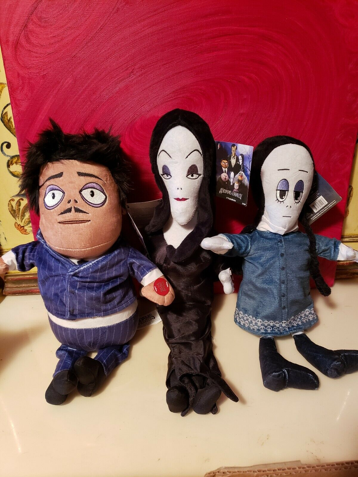 3 Adams Family Musical Plush Dolls 13  Gomez Mortica & Wednesday Theme Song NWT