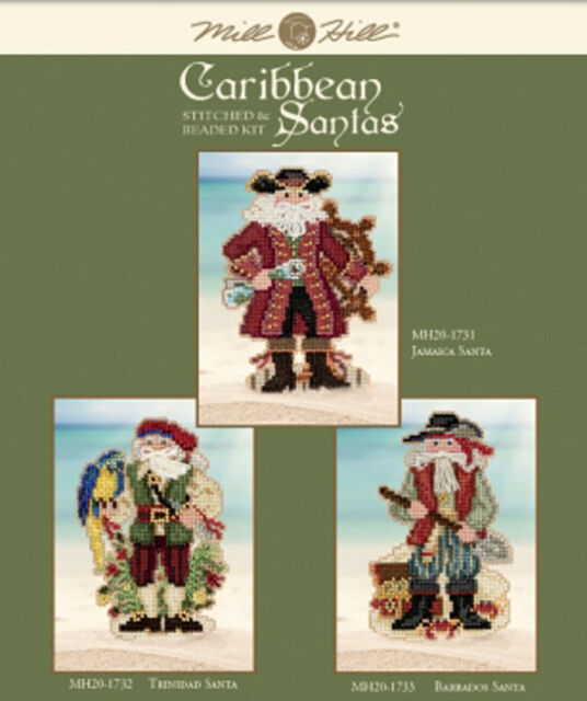 Mill Hill Counted Stitched & Beaded Kits ~ CARIBBEAN SANTAS Set of 3 #20173