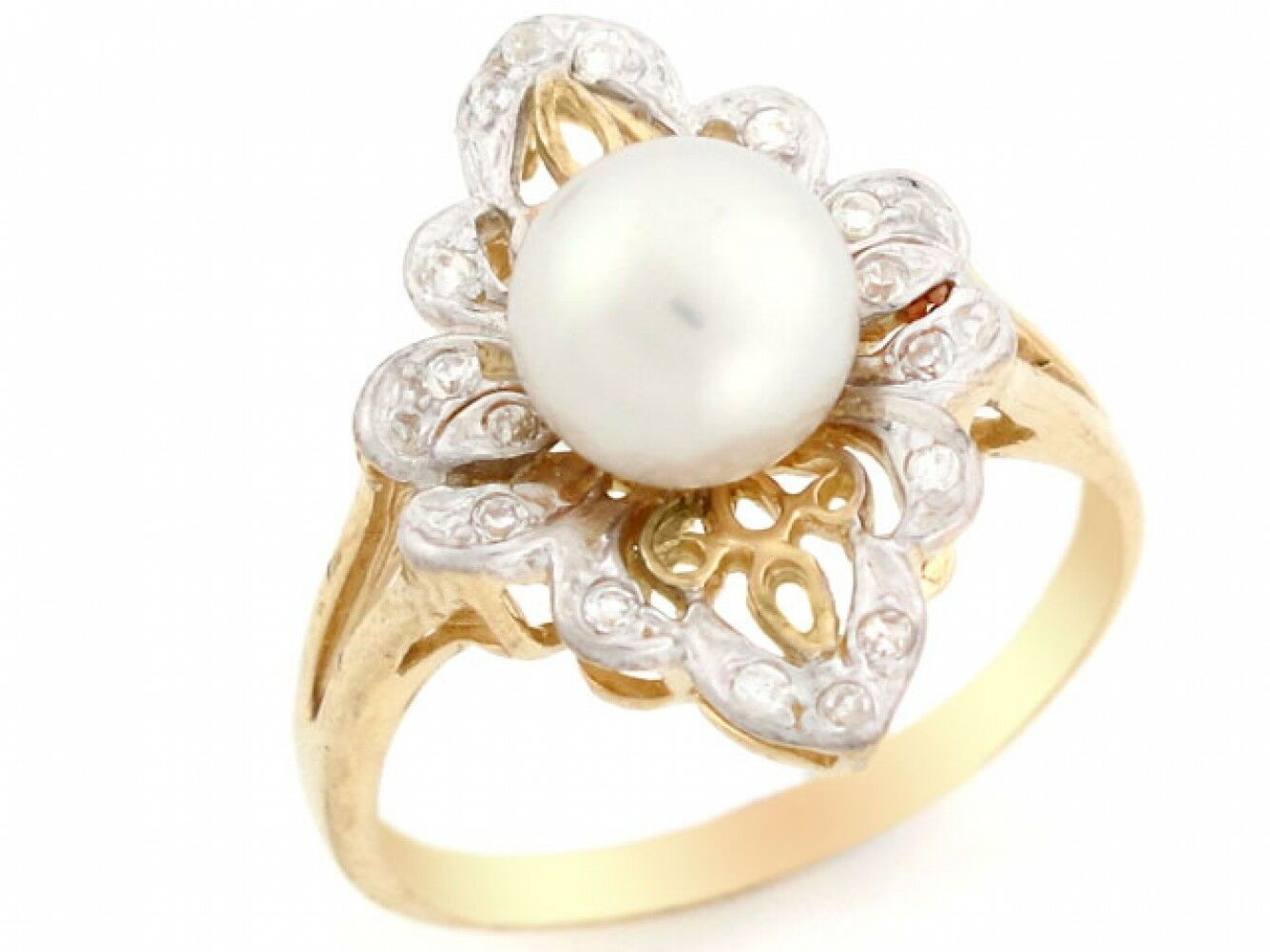 10k or 14k Two Tone gold Filigree Solitaire Cultured Pearl Fancy Ring Jewelry