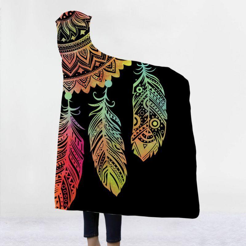 Dreamcatcher Map Hooded Blanket Fleece Sherpa Wearable Blankets Cloak Blanket