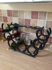 Horse Shoe 7 Bottle Wine Rack Stand With 4 Glass Holders