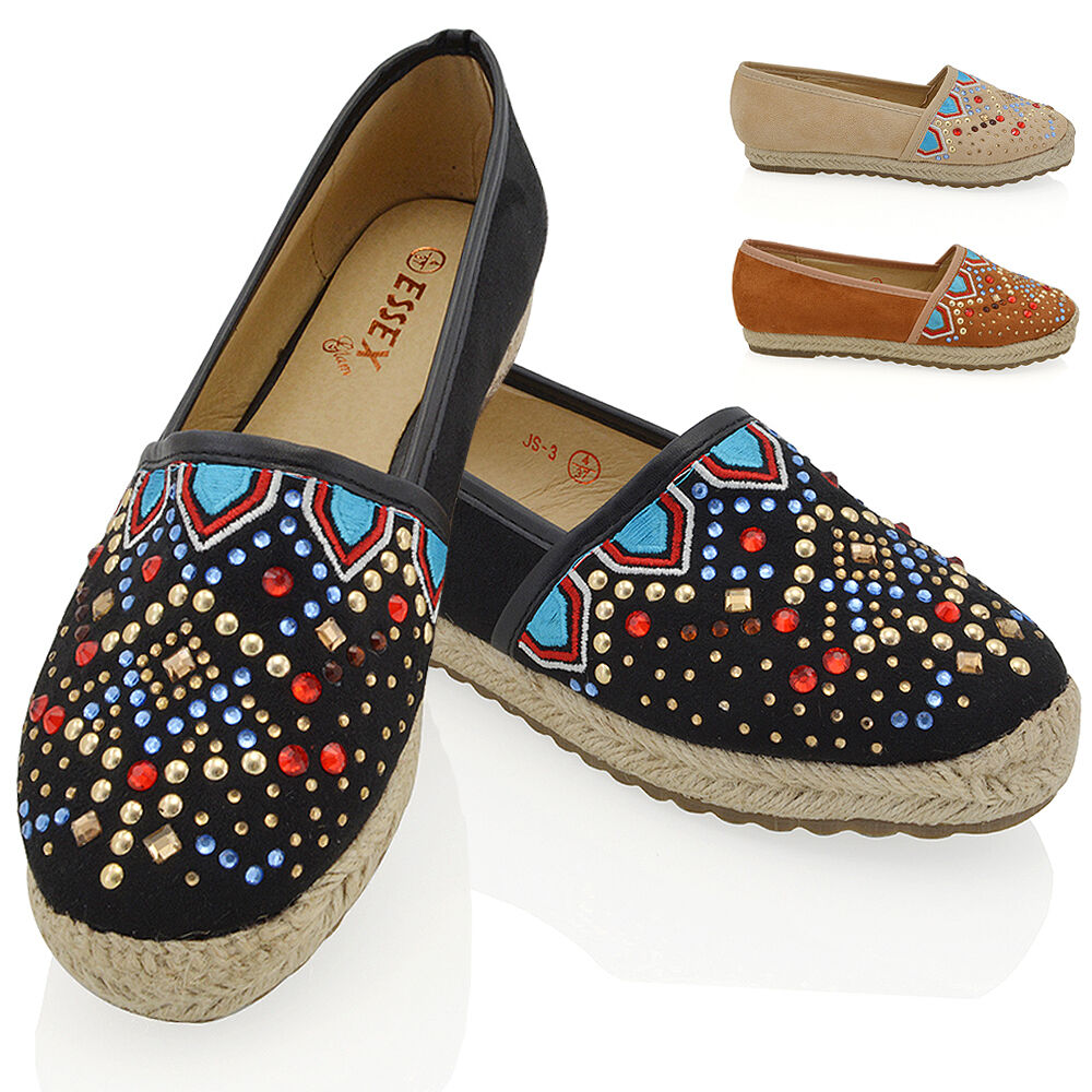 Womens Flat Slip On Casual Espadrilles Embroidered Stud Ladies Casual On Pumps Shoes Size 260ad4
