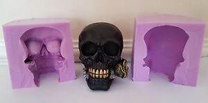 Grande-Teschio-con-Rosa-Halloween-Silicone-Stampo-Per-Cioccolato-Clay-Candele