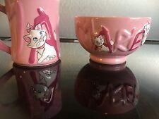Disney Store Exclusive Pink 3D Aristocats Marie Mug & Bowl Set Breakfast Pink