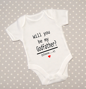 Will you be my Godfather Baby Grow Announcement Bodysuit Babygrow Top Vest