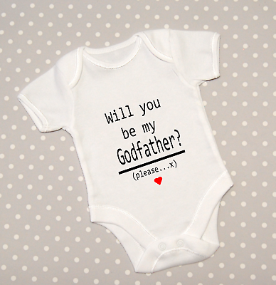 Please baby vest babygrow K0112 Will You Be My Godparent