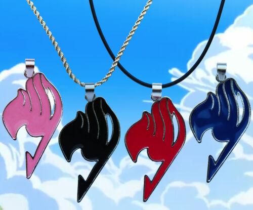 Fairy Tail Emblema de Plata Esterlina//Collar de cuero de imitación con opción de encanto