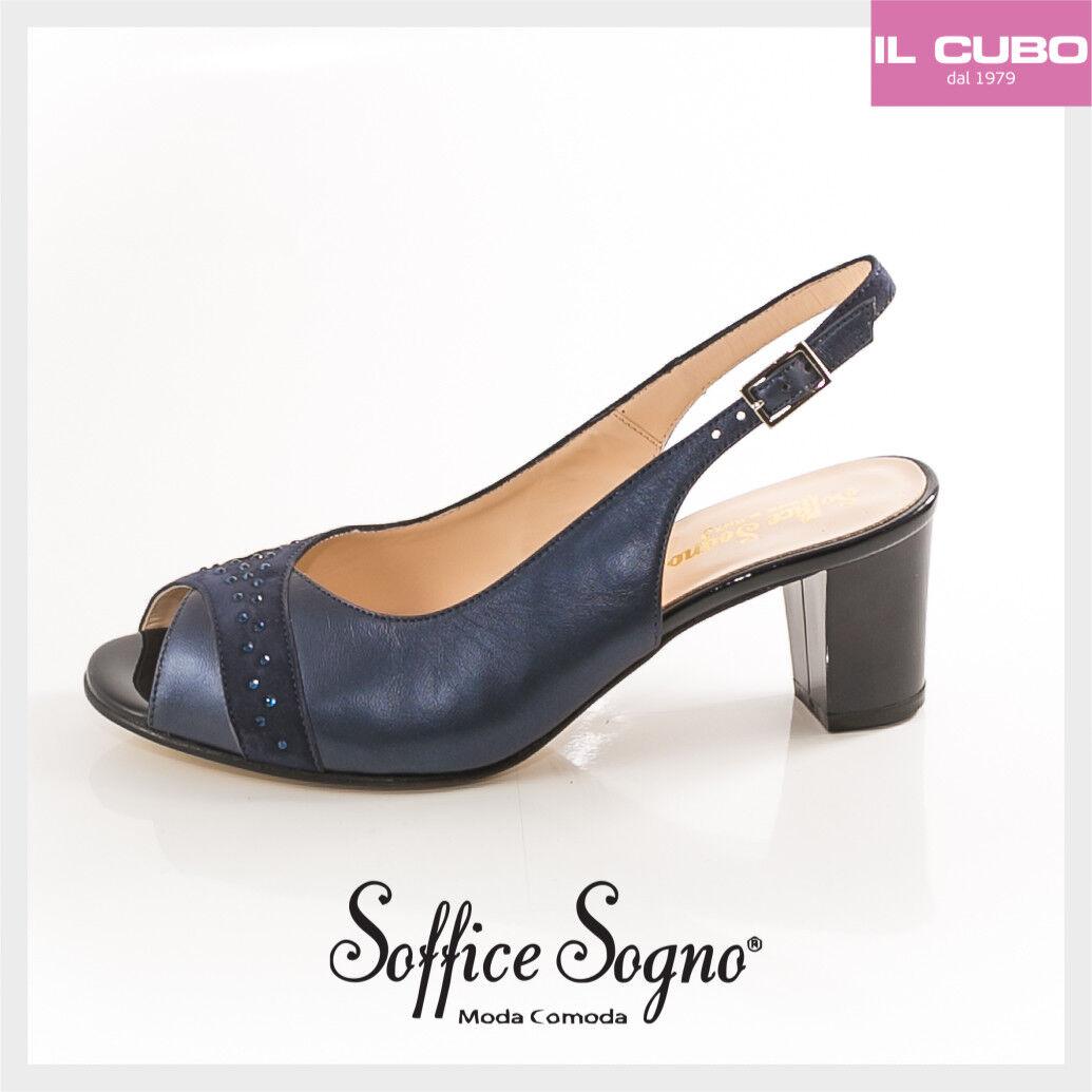 SOFFICE SOGNO SANDALO DONNA SCARPA COLORE BLU TACCO H 5,5 MADE IN ITALY