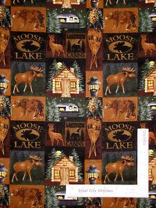 Moose-Lake-Camper-RV-Cabin-Camp-Blocks-Cotton-Fabric-David-Textiles-By-The-Yard