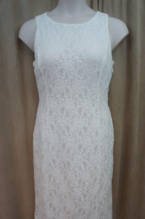 Ralph Lauren Dress Sz 10 Weiß Lace Sleeveless Sheath Cocktail Evening Dress