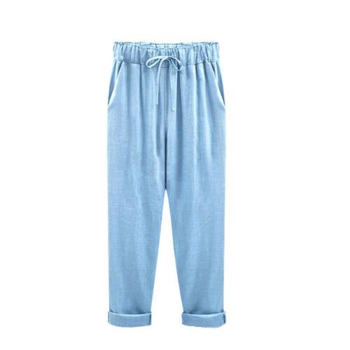 Women Slacks Casual Pants Summer High Waist Harem Loose Elastic Waist Pants