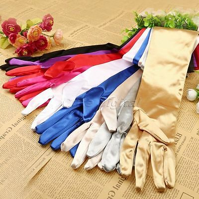 Long Satin Stretch Sleeve Opera Evening Party Bridal Wedding Dress Costume Glove