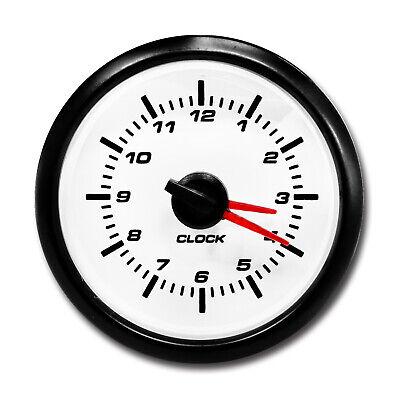 MOTOR METER RACING Clock Gauge 2 White LED Backlit Waterproof Pin-Style Install