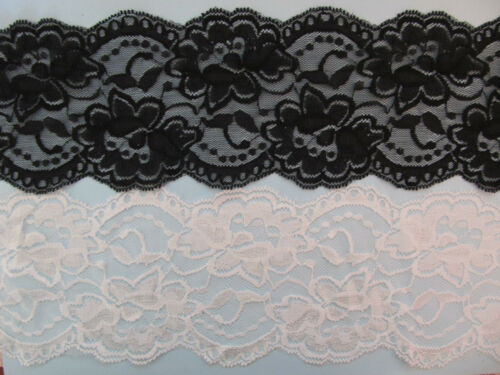"""Floral Scallop Edge Lace Elastic Stretch Lace 4/"""" BLACK or WHITE"""