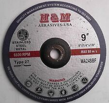 "10pcs 9"" x1/4""x7/8"" Metal Grinding Wheel Angle Grinder Tool Disc Type 27"