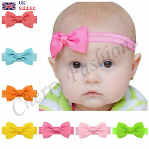 cute Small Baby Girls Hairband Bow Soft knot Elastic Band Headband ... 33dfac940c7