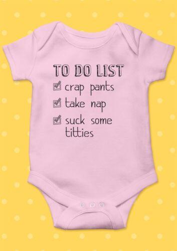 To Do List Crap NAP Sucer Le Lait Drôle Cool Baby Shower Garçon Fille Body Ange 8