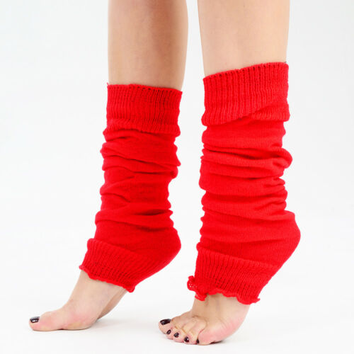 New Women Plain Bright Neon Leg Warmers 80s Party Fancy Dress Winter