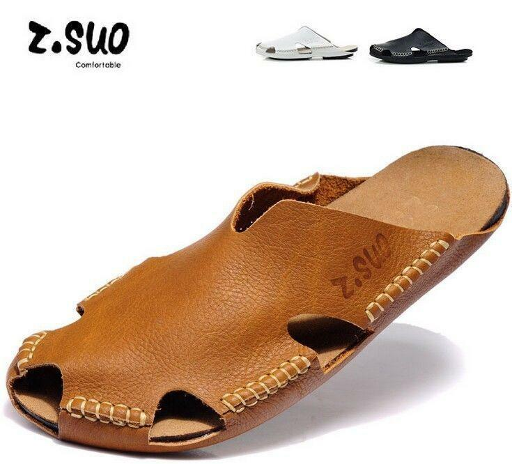Mens leather flat Casual Closed Toe Slippers Beach Slide Summer  Sandals shoes