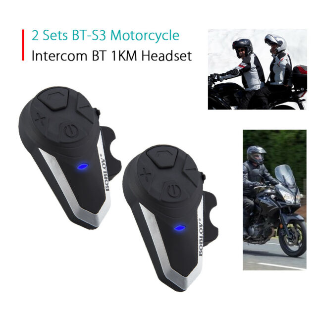 2x BT-S3 Motorcycle Intercom 1 KM Headsets GPS +Hard Line Micro FM Radio
