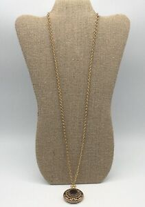 Vintage-1975-Avon-Gold-Tone-Amber-Rhinestone-Victorian-Locket-Pendant-Necklace