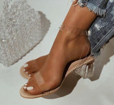 Women Transparent Peep Toe Ankle Strap Sandals Block Clear High Heels Platform
